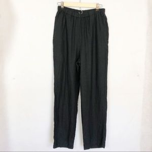 FLAX Small Black Lightweight Linen Crop Pants